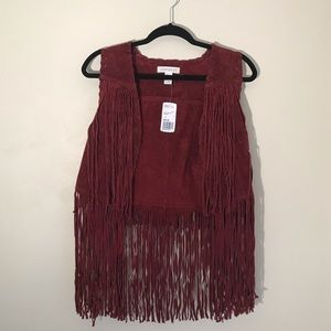 Forever 21 Faux Suede Vest With Fringe